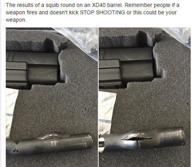 springfield xd squib load damage cci blazer aluminum ammo